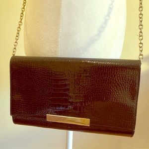 Black Embossed Clutch w. Chain